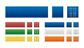 Vector of colorful cargo shipping containers for freight transport and global logistics in different view isolated on white background.