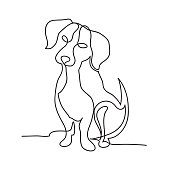 Continuous line dog minimalistic hand drawing vector on white isolated
