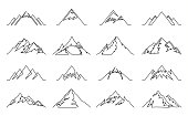 Vector mountains continuous line icons isolated on white. Mountains and travel icons for tourism organizations, outdoor events and resorts.