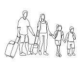 Continuous Line Parents with Children Travelling on Vacation. One Line Family with Baggage. Contour People with Luggage. Vector illustration