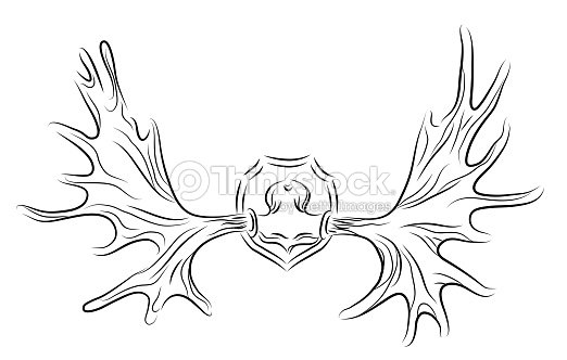 Contour Illustration Of Moose Antlers Vector Art Thinkstock
