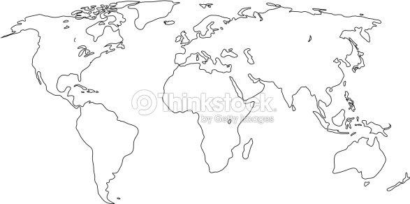 Mappa di contorno del mondo illustrazione vettoriale arte - Mappa del mondo contorno ks2 ...