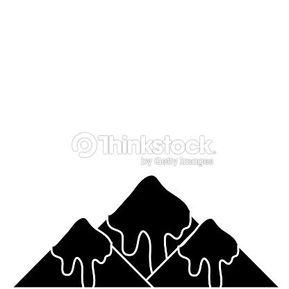 Contour natural snowy mountain and cold weather