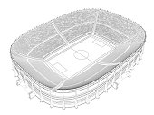 Contour of a large stadium for football. 3D. Isometric view. Vector illustration.