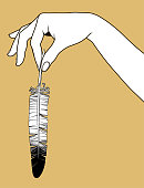Contour of woman's hand palm down with a pen in fingers. Linear drawing. Vector illustration