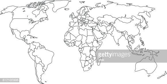 Contour politische Karte der Welt mit Ländern.  Vektor-illustration. : Vektorgrafik
