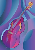 contrabass on multicolor background. 10 EPS