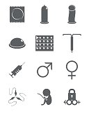 Contraceptive, man, woman, sex icons vector illustration set collection