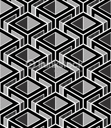 Contrast black and white symmetric seamless pattern with cubes vector art