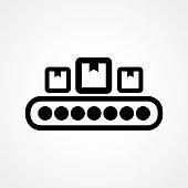 Conveyor Belt Icon. Flat vector illustration in black on white background. EPS 10