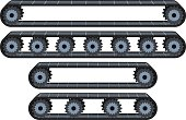 Vector illustration pack of four types of conveyor belt tracks with wheels.