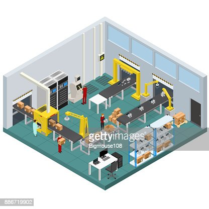 Conveyor Line Factory Interior with Isometric View. Vector : Arte vettoriale