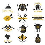 Bakery shop logos, badges and labels design elements set. Bread cake cafe vintage style objects retro vector. Cooking logo badge shop restaurant stamp. Cooking logo badge typography.