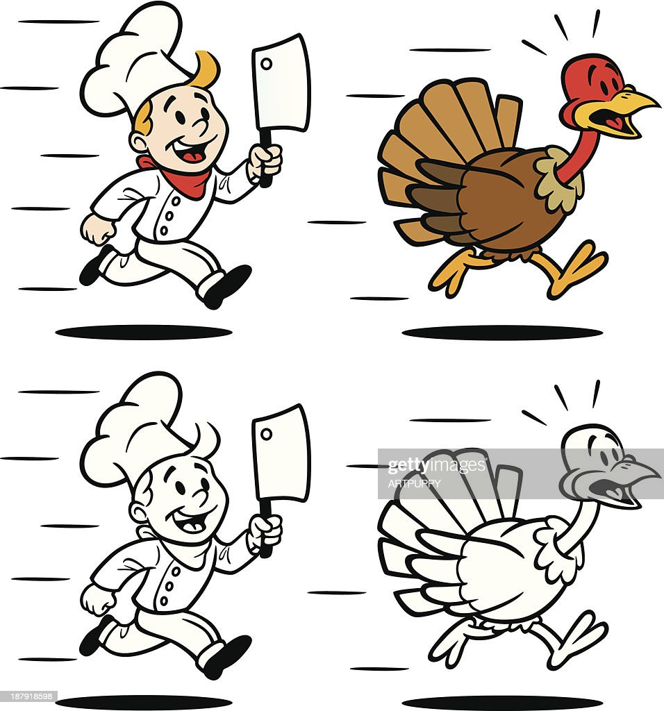 cook chasing turkey vector art getty images