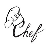 Cook hat. Drawn hat chef cook. Hat chef-cooker with lettering. Vector black hat chef cook logo on a white background
