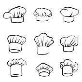 Cook hat engraving set. Drawn hat chef cook. Hat chef-cooker. Vector sketching hat chef cook isolated on a white background