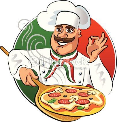 Cook pizza vektorillustration isoliert auf wei em for Koch italienisch