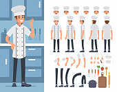 Chief cooking  character constructor and kitchen utensil objects for animation scene.  Set of various men's poses, faces, hands, legs. Flat style vector illustration isolated on white background.