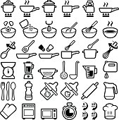 Cooking and kitchen icon collection - vector outline