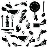 Cooking and kitchen tool with hand icon collection - vector silhouette illustration