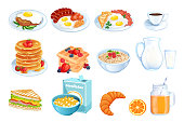 Cooking breakfast, vector cartoon illustration. Set of isolated morning meal dishes. Restaurant or cafe brunch menu design elements.
