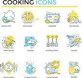 Set of 12 cooking icons. Flat design