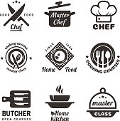 Cooking master classes labels. Restaurant or cafe menu emblems. Chef vector  isolated on white background. Restaurant class cooking badge illustration