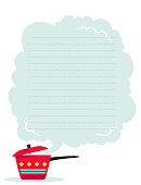 Vector illustration of a cooking pot and a cloud of steam. Page template for notes or cooking receipts.