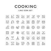 Cooking related set line icons isolated on white. Vector illustration