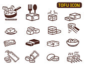 Cooking Tofu icon collection. Asian Cuisine ingredient. Soy milk processing.