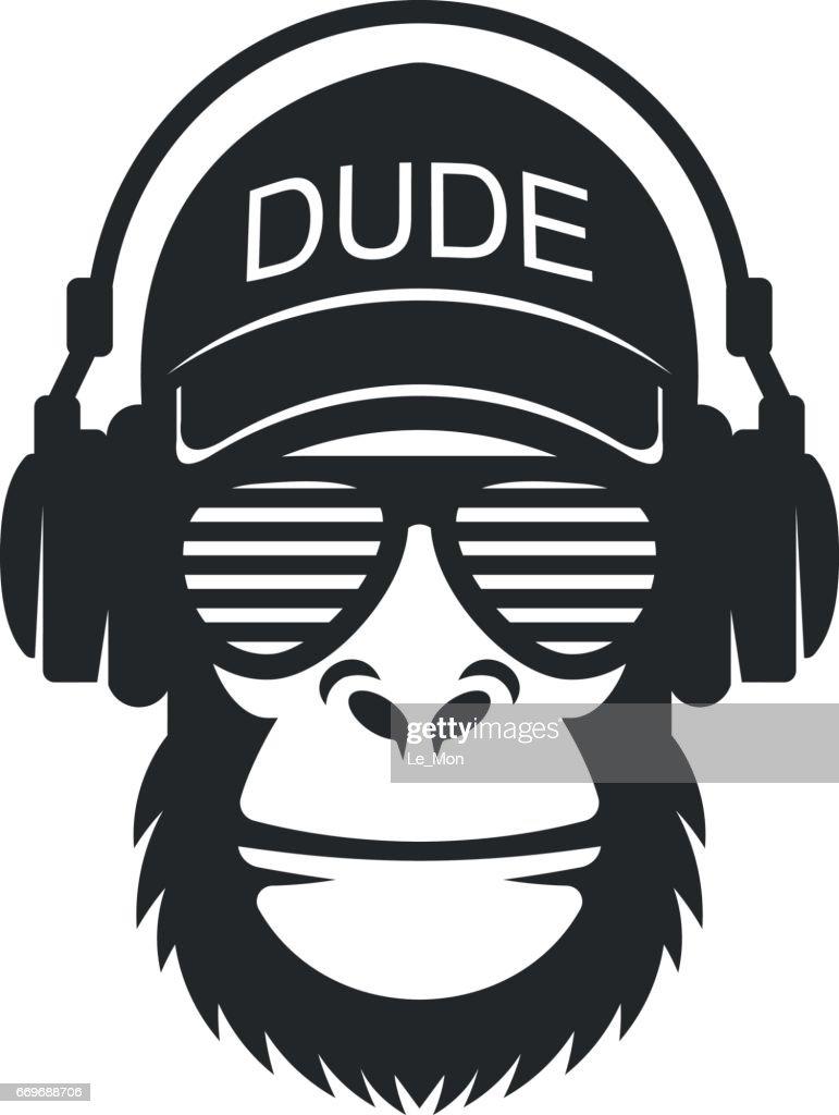 cool dude monkey with glasses and headphones vector art thinkstock rh thinkstockphotos com cool vector art sites cool vector art backgrounds