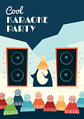 Retro styled karaoke party invitation flyer. Cute cartoon penguin singing into a microphone outdoors. A crowd is listening to the singer. Snowy landscape. Vector illustration. Vertical format.
