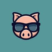 Cool pig in sunglasses icon. Piggy head