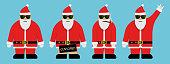 Cool Santa with sunglasses character set. Vector Illustration