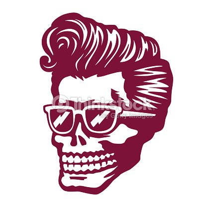 Cool skull face with rockabilly hairstyle and sunglasses vector  illustration   Arte vetorial 1334c2a69b