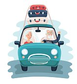 Vector illustration of cartoon character design on senior age travelers with vintage old car with luggage on top. Retired tourists couple ready to their road trip. Grandparents on summer holidays trip
