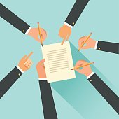 Cooperation agreement concept. Hands with pencils. Team signing a paper document. Vector illustration in flat style