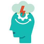 Head with gear and thunderstorm icon vector illustration in flat color design