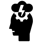 Head with gear and thunderstorm icon vector illustration in solid color design