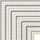 Coptic ornament frame border vector corners. Border corner frame decorative illustration