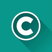illustration of copyright flat design icon isolated