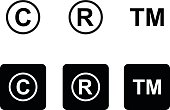 Copyright trademark icons set