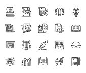 Copywriting flat line icons set. Writer typing text, social media content, e-mail newsletter, creative idea, typewriter vector illustrations. Writing thin signs. Pixel perfect 64x64. Editable Strokes.
