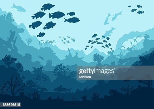 coral reef and sea creatures : Vector Art