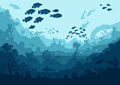 coral reef and sea creatures, vector illustration