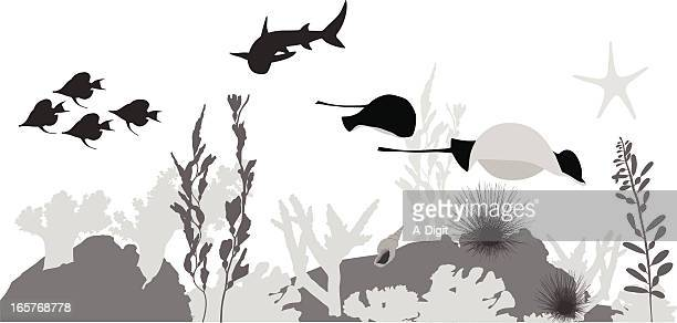 Coral Reef Vector Silhouette