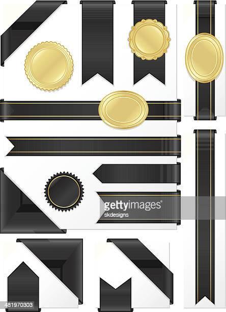 Corner, Edge Ribbons, Labels, Stickers Set: Shiny Black Satin, Gold
