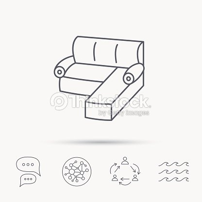 Corner Sofa Icon Comfortable Couch Sign Vector Art Thinkstock
