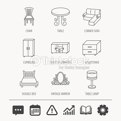 Corner Sofa Table And Cupboard Icons Stock Vector Thinkstock
