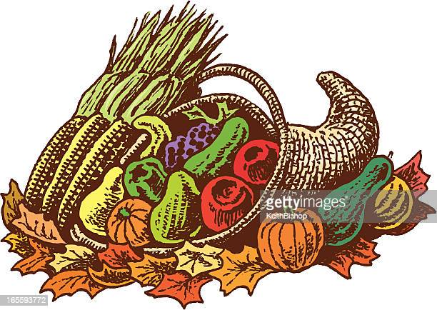 Cornucopia with Fruit, Vegetables and Leaves